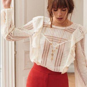 Sezane line blouse ecru 36